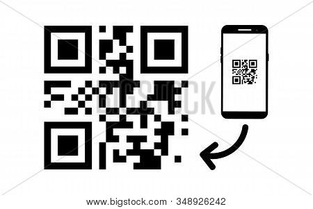 Scan Qr Code Icon. Vector Qr Code Sample For Smartphone Scanning. Qr Code Scanning With Mobile Phone