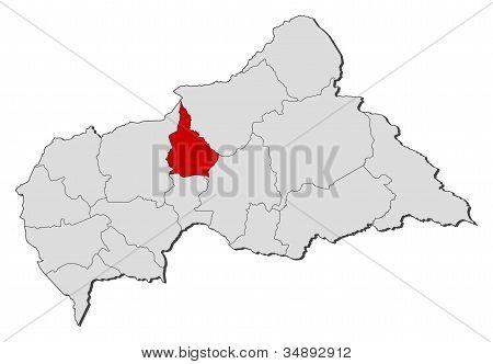 Map Of Central African Republic, Nana-grébizi Highlighted