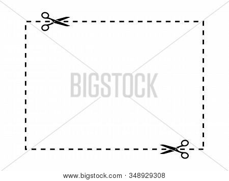 Scissors Cut Lines. Scissors Cutting Square Line. Cut Out Coupon Border Rectangle Shape. Coupon Scis