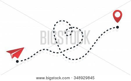 Red Paper Plane Flying On A Dashed Line Route. Love Airplane Route. Airplane Line Path Vector Icon O