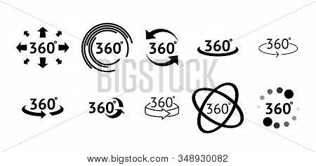 Set Of 360 Degree View Icons. Signs With Arrows To Indicate The Rotation Or Panoramas To 360 Degrees