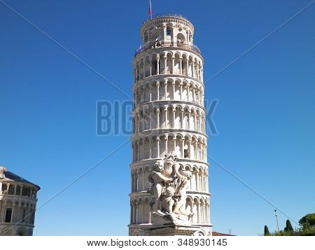 Pisa, Tuscany, Italy, September 21 2019: Piazza Del Duomo In Pisa. Leaning Tower Of Pisa.