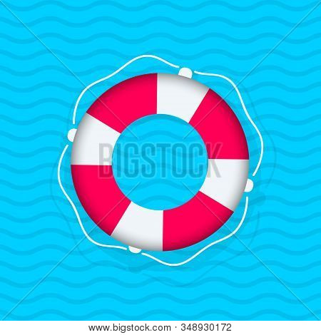 Floating Lifebuoy. Red And White Swimming Rubber Ring On Blue Wavy Background. Striped Red And White