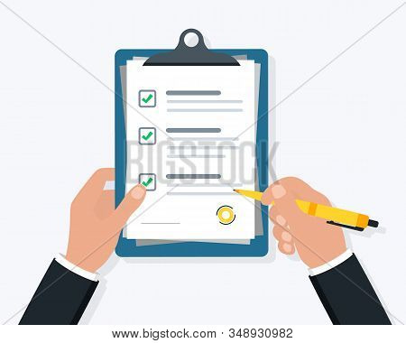 Businessman Hand Holding Clipboard Checklist With Pen. Hand Signing Document. Form Illustration With