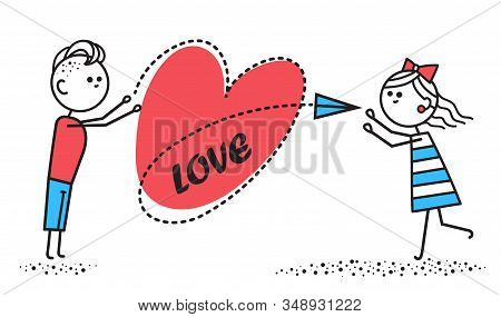 Boy In Love Sends Girl Letter In Form Of Airplane. Girl Catches Love Letter From Boyfriend.valentine