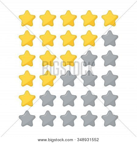 Star Rating Flat Icon For Apps And Websites. Five Stars Customer Product Rating Review. Rate Design.