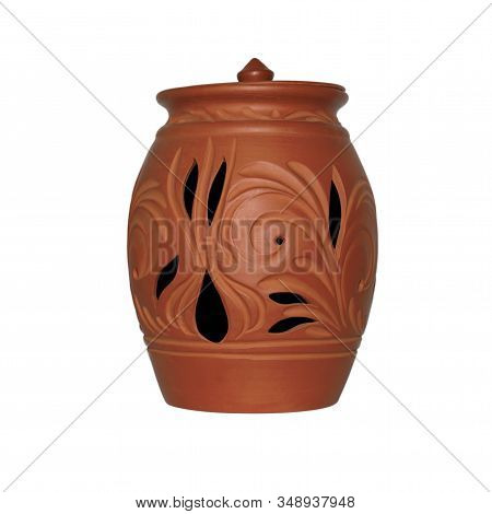 Clay Jug Isolated On White Background. Beautiful Rustic With Clay Jug Isolated On White Background.