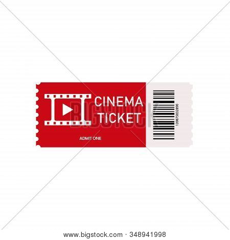 Red Cinema Ticket Isolated On White Background. Card For Movie. Realistic Front View. Pass Ticket On