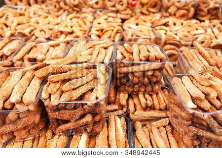 Small Breadsticks With Sesame Seeds, Put Up In Trays At The Mahane Yehuda Market In Jerusalem, Israe