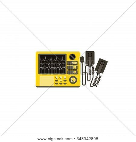 Yellow Defibrillator Isolated On A White Background. Medical Equipment For Saving Human Life