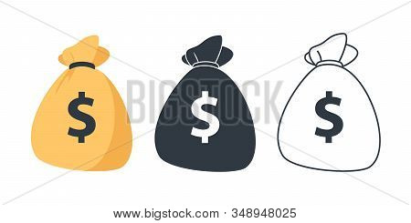 Set Of Money Bag Icons. Line Money Bag Icon , Black And White Sack, Flat Money Bag Vector Illustrati