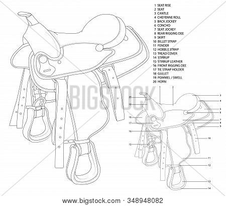 Description Of The Design Of A Saddle For Riding On The Example Of A Cowboy Saddle. Black And White