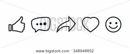 Like, Comment, Share, Repost, Comment, Heart And Smile Set Of Lignes Icons. Social Media Icon. Emoji