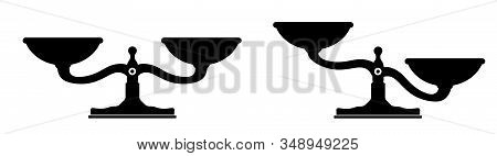 Scales, Libra Vector Silhouette Icon. Bowls Of Scales In Balance. Vector Illustration
