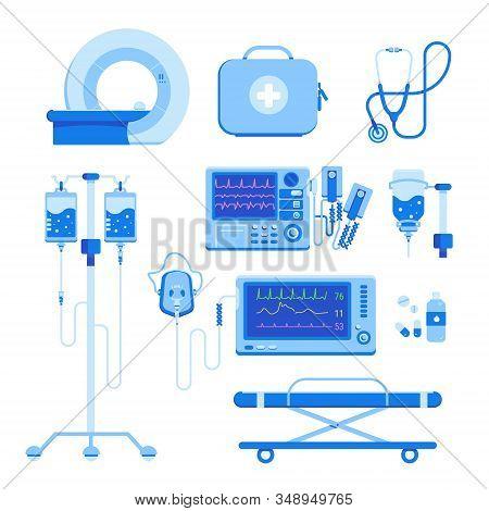 Professional Medical Equipment Set Of Mri, A Defibrillator, An Oxygen Mask And Equipment, A Medical