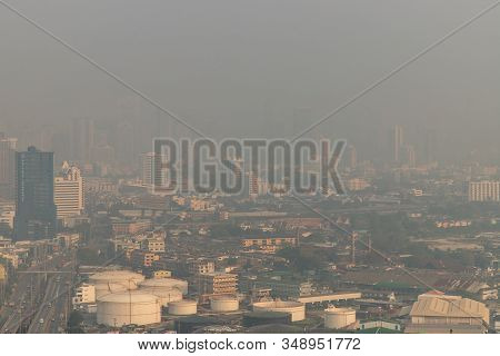 Bangkok,thailand - Feb 2, 2020 : Aerial View Of Dust In Bangkok City Is Full Of Harmful Pm 2.5 Dust