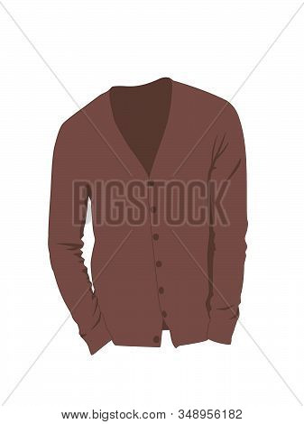 Cardigan For Men Brown Realistic Vector Illustration Isolated No Background