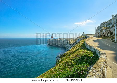 Europa Point With Lighthouse Of Gibraltar Rock. Europa Point Is The Southernmost Point Of Gibraltar,