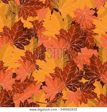 Seamless Pattern Of Autumn Maple Leaves For Autumn Season Design. Vector Illustration.