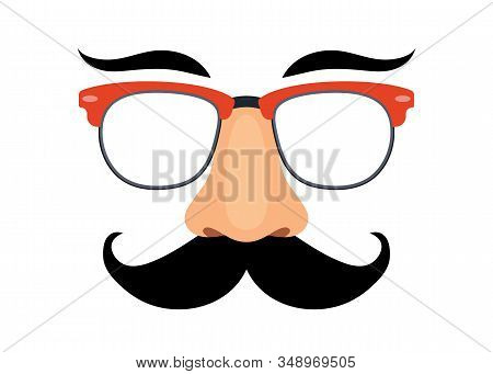 Disguise Mask. Glasses, Nose And Mustache. Vector Illustration
