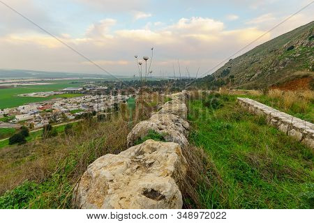 Sunset View Of Landscape And Countryside In The Eastern Part Of The Jezreel Valley With Kibbutz Hefz
