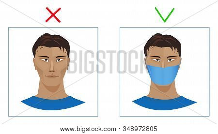 A Man In A Protective Mask And Without It.  Be Sure To Wear A Medical Mask. Stop Viruses And Disease