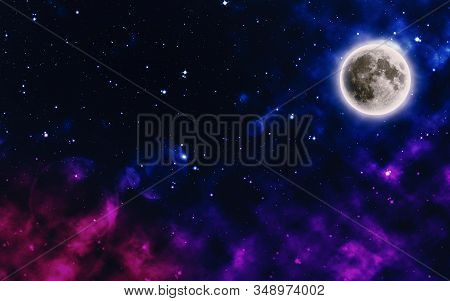 Colorful Starry Night Sky With The Moon, Cosmic Starry Background