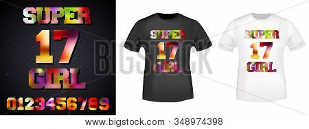 17 Super Girl T-shirt Print Stamp For Tee, T Shirts Applique, Fashion, Badge, Label Retro Clothing,