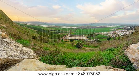 Panoramic Sunset View Of Landscape And Countryside In The Eastern Part Of The Jezreel Valley With Ki
