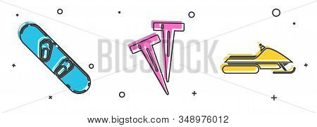 Set Snowboard, Pegs For Tents And Snowmobile Icon. Vector