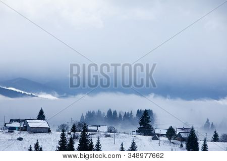 Rural Scene Snowed Village In Mountains Misty Fogy Morning