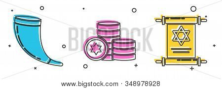 Set Traditional Ram Horn, Shofar, Jewish Coin And Torah Scroll Icon. Vector