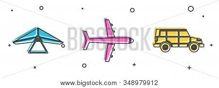Set Hang Glider, Plane And Off Road Car Icon. Vector