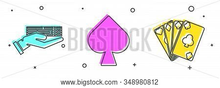 Set Hand Holding Deck Of Playing Cards, Playing Card With Spades Symbol And Playing Cards Icon. Vect