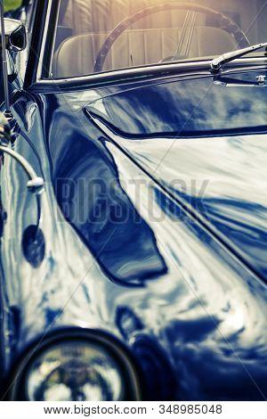 Dark blue retro classic car