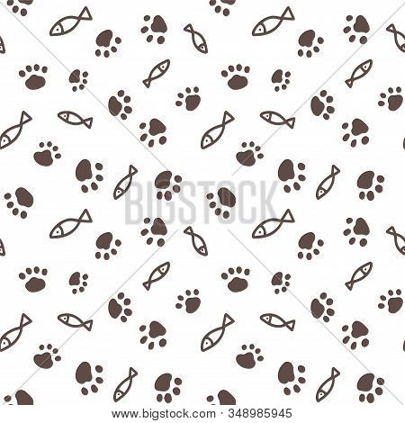 Seamless Pattern With Simple Fish And Paw Print From Cat Steps.design For Packaging Goods Or Textile