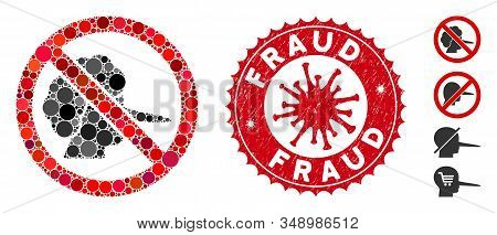 Mosaic No Faker Icon And Red Round Rubber Stamp Seal With Fraud Caption And Coronavirus Symbol. Mosa