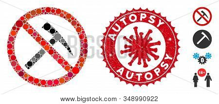Mosaic No Mining Tools Icon And Red Round Rubber Stamp Seal With Autopsy Phrase And Coronavirus Symb
