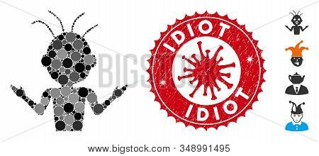Mosaic Idiot Icon And Red Rounded Rubber Stamp Seal With Idiot Caption And Coronavirus Symbol. Mosai