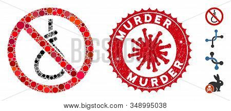 Mosaic No Suicide Loop Icon And Red Rounded Distressed Stamp Watermark With Murder Phrase And Corona