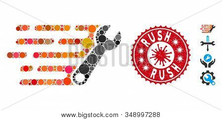 Mosaic Rush Wrench Icon And Red Round Grunge Stamp Seal With Rush Phrase And Coronavirus Symbol. Mos