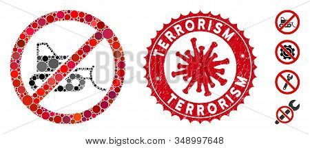 Collage No Bulldozer Icon And Red Round Distressed Stamp Watermark With Terrorism Text And Coronavir