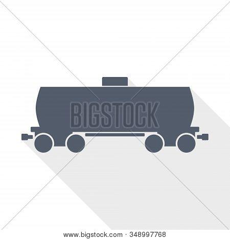 Fuel Cistern Wagon Vector Icon, Train Concept Flat Design Illustration