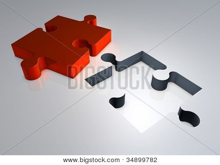 3D Render Of Jigsaw Puzzle Solution