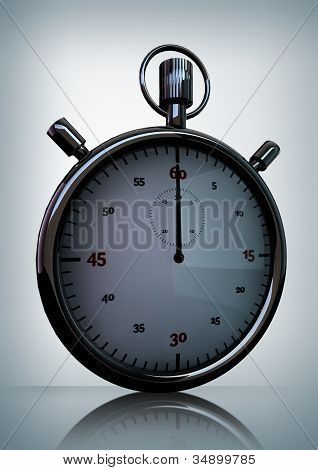 3D Render Of Shiny Bright Stop Watch