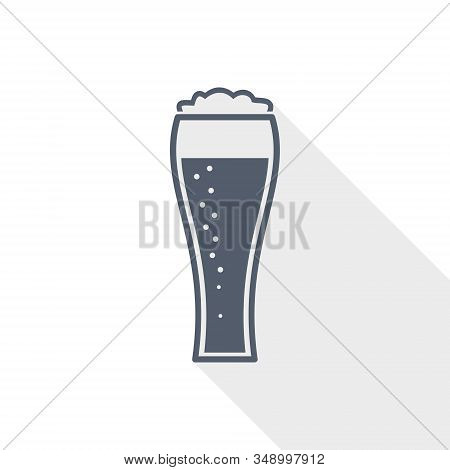 Beer In Glass Vector Icon, Lager, Drink Concept Flat Design Illustration