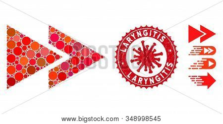 Mosaic Rewind Forward Icon And Red Round Distressed Stamp Seal With Laryngitis Caption And Coronavir
