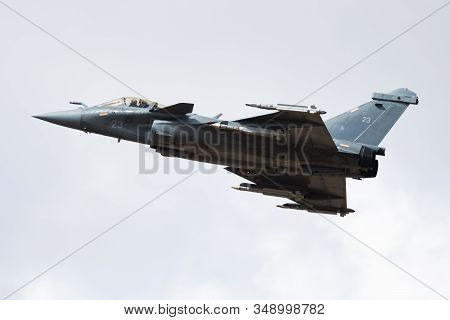 Fairford / United Kingdom - July 11, 2018: French Navy Dassault Rafale M Fighter Jets Display For Ri