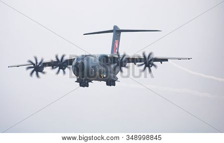 Fairford / United Kingdom - July 12, 2018: Airbus A400m Atlas Ec-400 Transport Plane Arrival And Lan