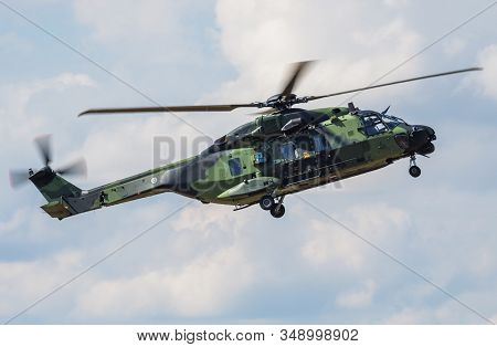 Fairford / United Kingdom - July 12, 2018: Finnish Army Airbus Helicopters Nh-90 Tth Nh-219 Helicopt